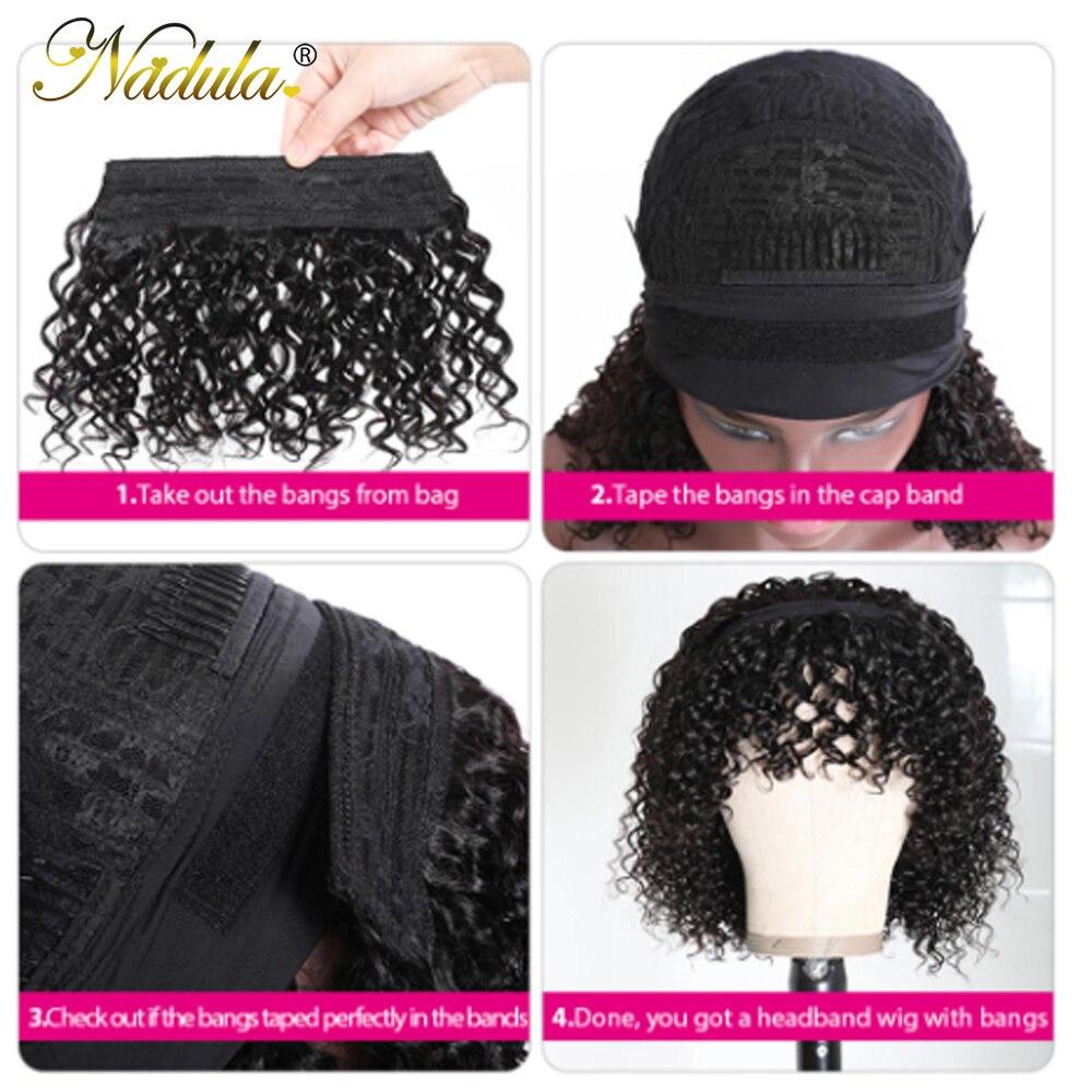 Nadula Hair Headband Wigs with Bangs  Curly  Hedaband Wig Natural Color Headband Wig  With Bangs 6
