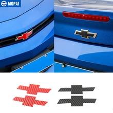 MOPAI pegatina de fibra de carbono para coche, rejilla delantera, Cruz trasera, emblema, insignia, pegatina para Chevrolet Camaro 2017 Up, accesorios para coche