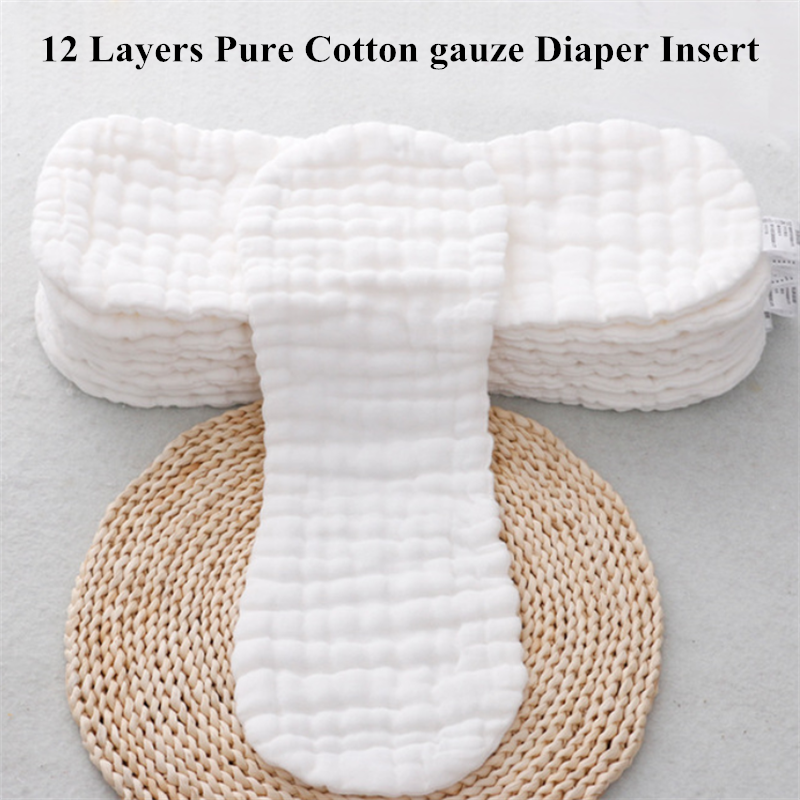 5pcs/10pcs  Reusable Cloth Diaper Inserts 12 Layers Gauze Baby Nappies Insert Changing Liners Washable Reusable Cloth Nappy