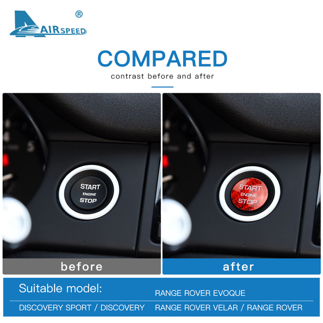 AIRSPEED for LAND ROVER Discovery Sport Range Rover Evoque Velar Carbon Fibe Sticker Engine Start Button Ignition Device Decal 5
