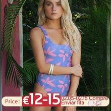Miyouj plant print maiô feminino cor roxa 2021 bandagem beachwear halter bodysuit sexy ternos de uma peça swim wear
