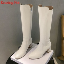 Long-Boots Krazing Pot Zipper High-Heels Thick Solid L63 Modern-Wear Party Round-Toe