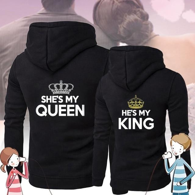 Chritsmas Lovers Couples SHE IS MY QUEEN HE IS MY KING Women Men Lovers Sweatshirt Couple Hoodies 3