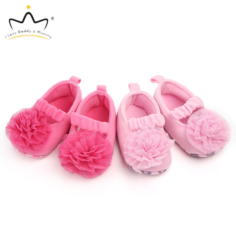 Summer New Cute Lace Flower Pompom Baby Girl Shoes Newborn Infant Todddler First Walkers Soft Cotton Non-slip Soled Baby Shoes