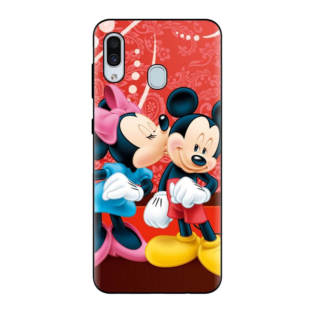 Cute Mickey Minnie Love Black Soft Case For Samsung Galaxy A10 A20 A30 A40 A50S A60 A70 A3 A5 A7 J3 J5 J7 2017 Cover Funda