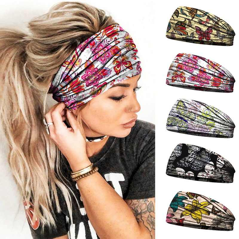 Head Bandana Turban Hairband Stretch Headband Hair Band Wrap Elastic Wide