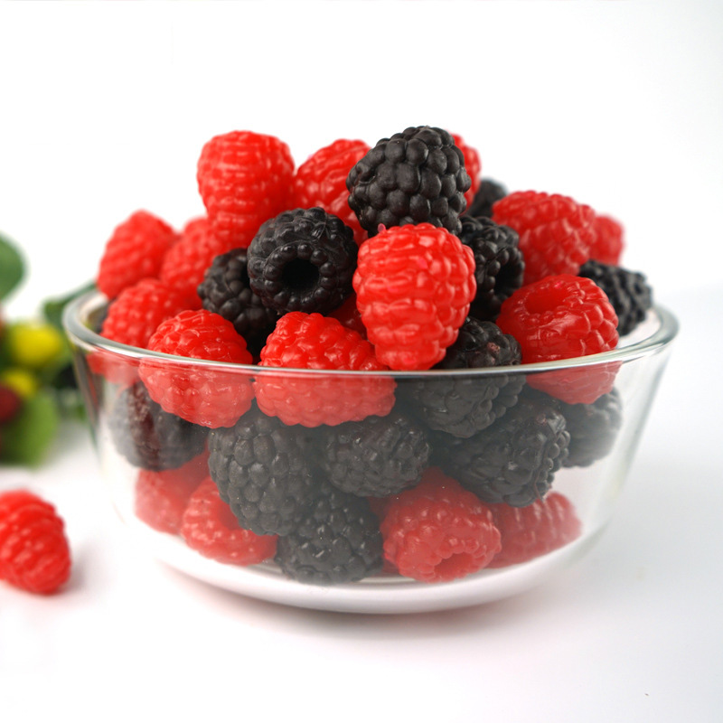 10pcs High Simulation Fake Raspberry Artificial Fruit Bilberry Cabinet Home Display Decoration Early Education Photography Props