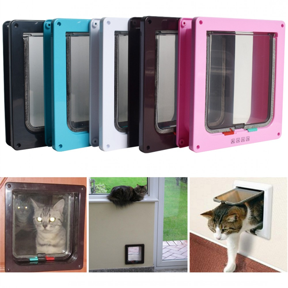 S-XL 4 Way Lockable Dog Cat Kitten Door Security Flap Door ABS Plastic Intellgent Control Door Animal Small Pet Cat Dog Gate