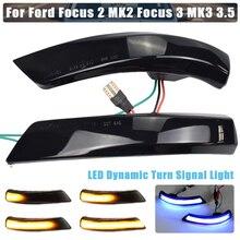 Para ford focus 2 3 mk2 mk3 mondeo mk4 led dinâmico transformar sinal de luz asa lateral espelho retrovisor indicador blinker luz 2pcs ue