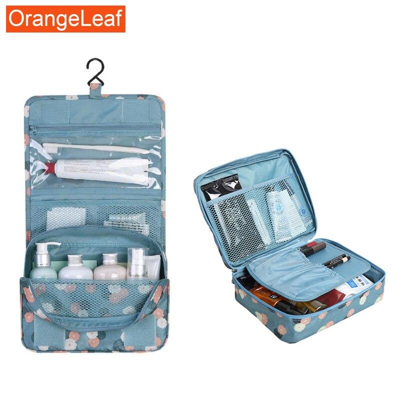 2Pcs Waterproof Portable Nylon Travel Cosmetic Bag Organizer Hook Wash Cosmetic Bag Women Makeup Bag Wash Bag Travel Accessories