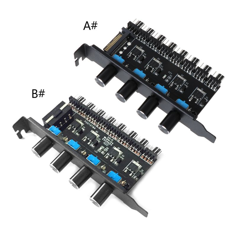 PC 8 Channels Fan Hub 4 Knob Cooling Fan Speed Controller For CPU Case HDD VGA PWM Fan PCI Bracket 12V Fan Control Power Supply