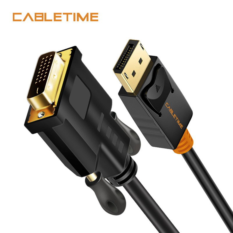 Cabletime Display Port To DVI Cable Male To Male DisplayPort DP To DVI Connection Adapter 1080P 3D For HDTV PC Projector N080