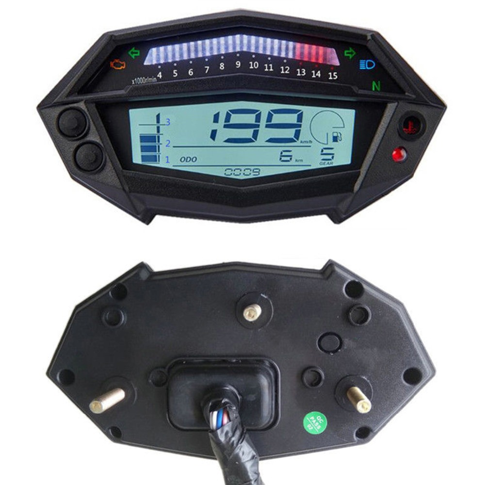 Universal Motorcycle Speedometer LCD Screen Odometer Gauge Speed Sensor For Kawasaki Z1000 1 To 4 Cylinders Motorcycles image