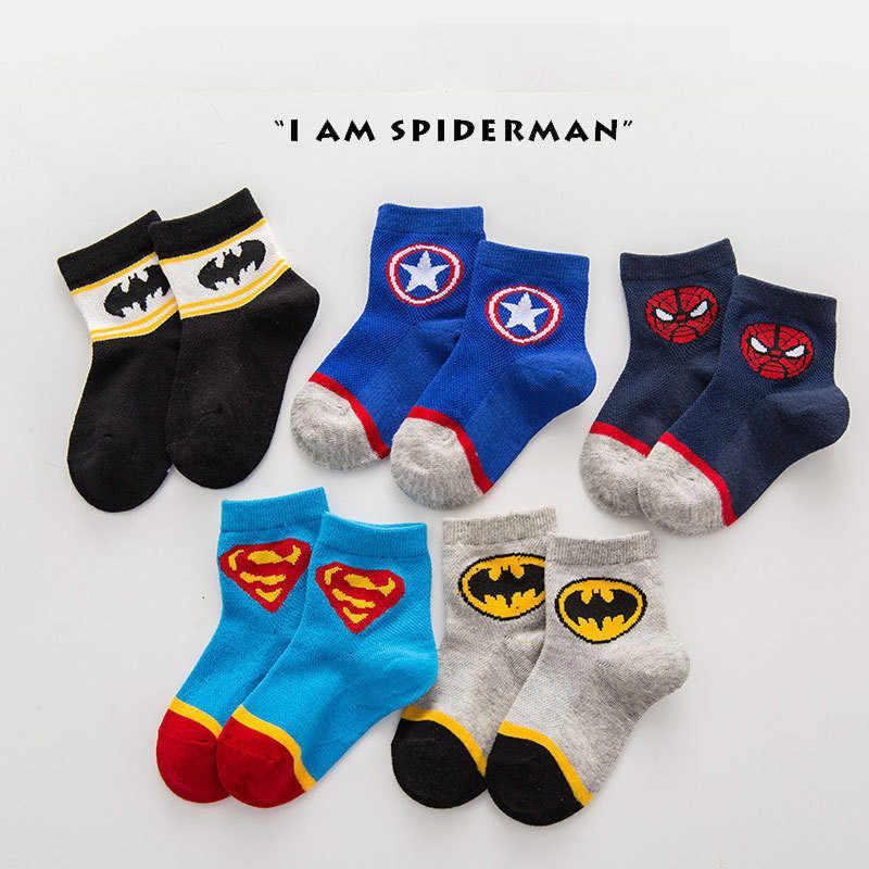 Avenger çorap bebek erkek spor pamuk çorap çocuklar çorap örümcek adam Superman Batman çocuk futbol basketbol çorapları