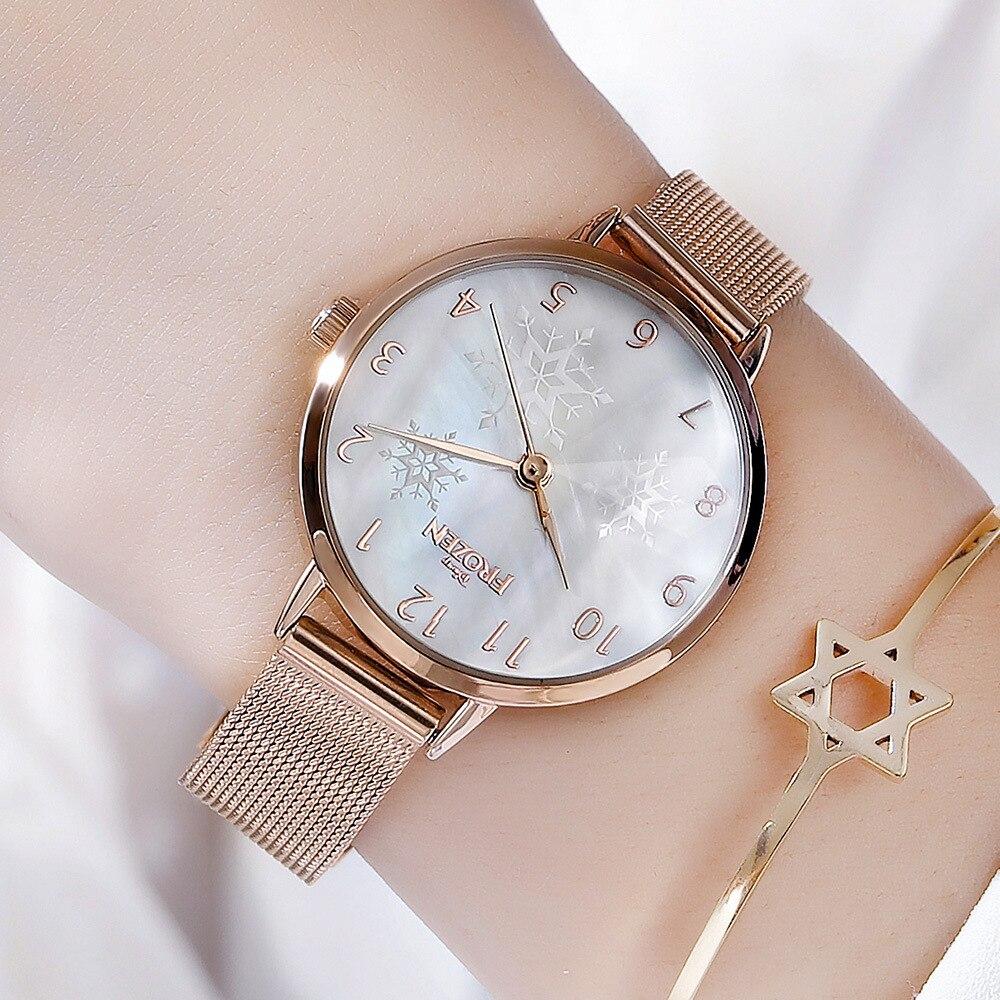 Disney marque femmes montres quartz en acier inoxydable en cuir dames montres étanche diamant mode femme horloges