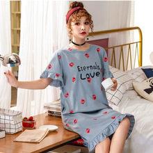 Chemise de nuit en coton pour femmes, manches courtes, style coréen, ample, 5XL, poids 90 kg, imprimé dessin animé, été