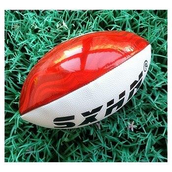 Kırmızı beyaz aşınmaya dayanıklı PU yumuşak deri Rugby 3 # İngilizce Rugby futbol anaokulu çocuk ergenler öğretim eğitim topları