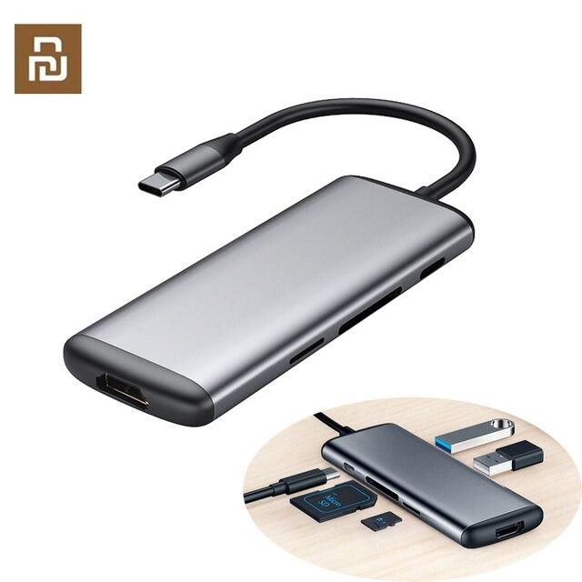 オリジナルhagibis 6で1タイプc hdmi usb 3.0 tf sdカードリーダーpd充電アダプタハブiphoneの携帯電話
