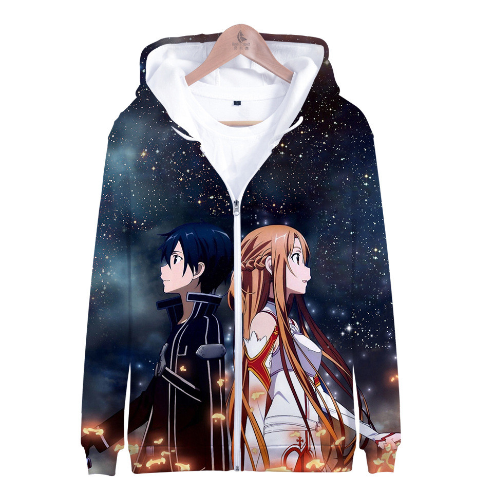 Sword Art Online SAO 3D Hoodies Men Women Harajuku Streetwear Hoodie Sweatshirt Zipper Anime Fans Jacket Clothes Sudadera