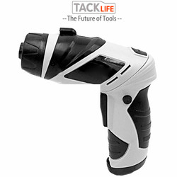 TACKLIFE 45 sztuk/zestaw bezprzewodowy wkrętak elektryczny akumulator domowy wkrętak z obrotowym uchwytem z latarka led