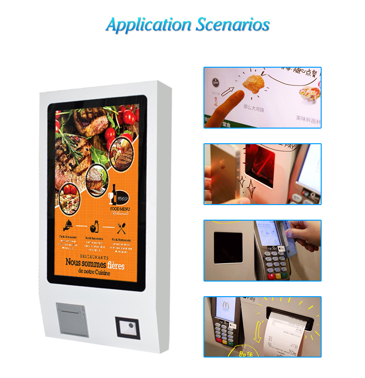 24 Inch Tft Lcd Touch Screen Restaurant Wifi Self Service Fast Food Ordering Kiosk Machine