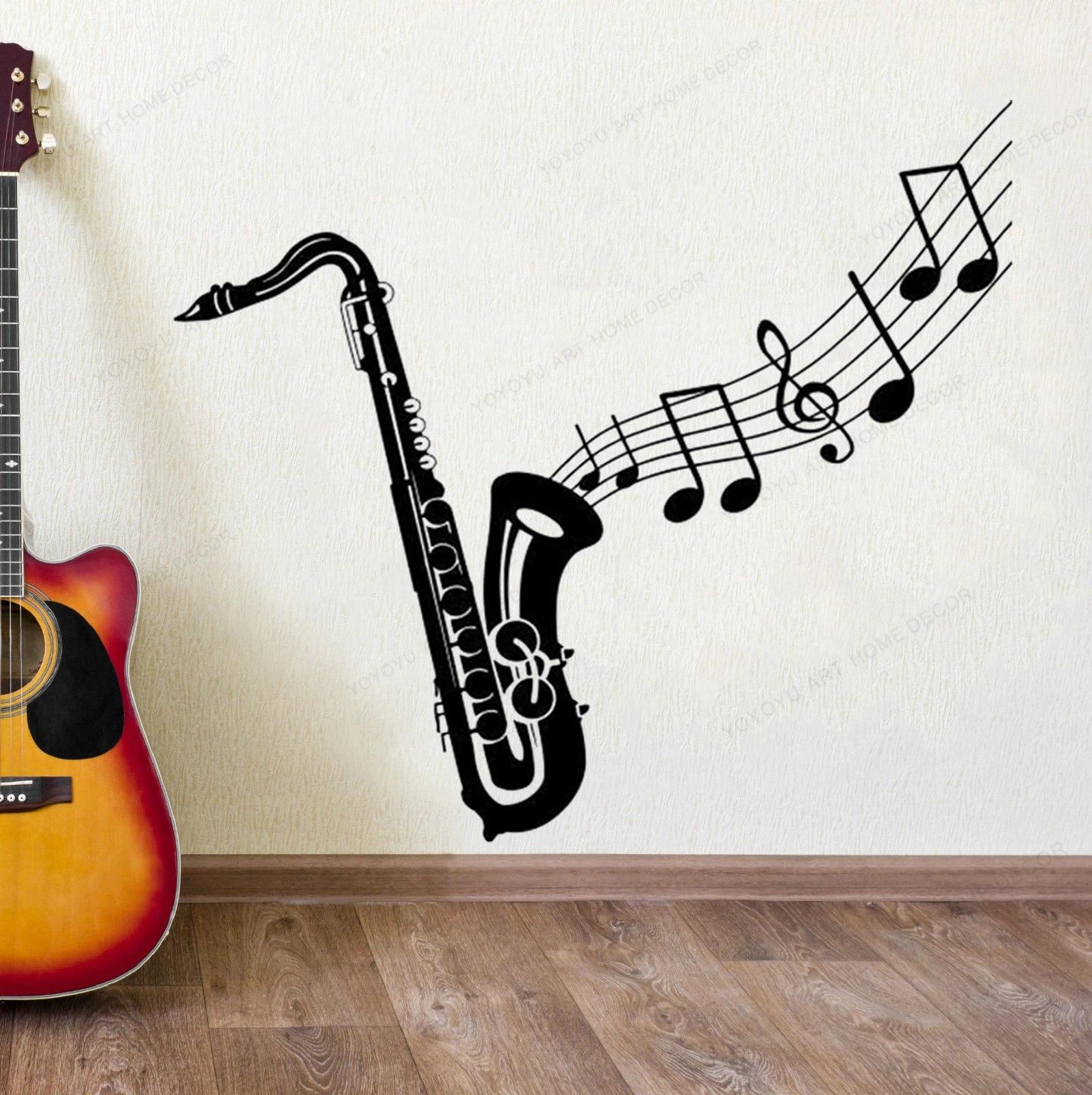 Saxophone Stiker Dinding Vinyl Catatan Musik Dinding Musik Dinding Dekorasi Alat Musik Dinding Seni Mural Hj630 Wall Stickers Aliexpress