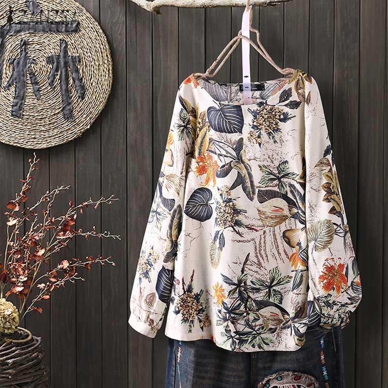 Plus Size Tunic Women's Floral Blouse ZANZEA 2020 Kaftan Printed Summer Tops Casual Long Sleeve Shirts Female O Neck Blusas