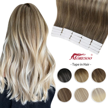 Moresoo Hair Extension Tape in Human Hair 40 Pcs Balayage Ombre Color 100g/pack Machine Remy Skin Weft Glue on Brazilian Hair
