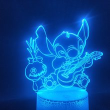 Stitch Dog 3d lampara adorable caricatura toca la guitarra Led lámpara de luz nocturna multicolor con mando a distancia decorativo para habitación luz de noche(China)