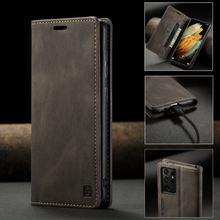 Etui na telefony do Samsung Galaxy S21 Plus etui z klapką portfel skórzany pokrowiec do Samsung S21 Ultra S 21 luksusowe Retro matowe etui Coque