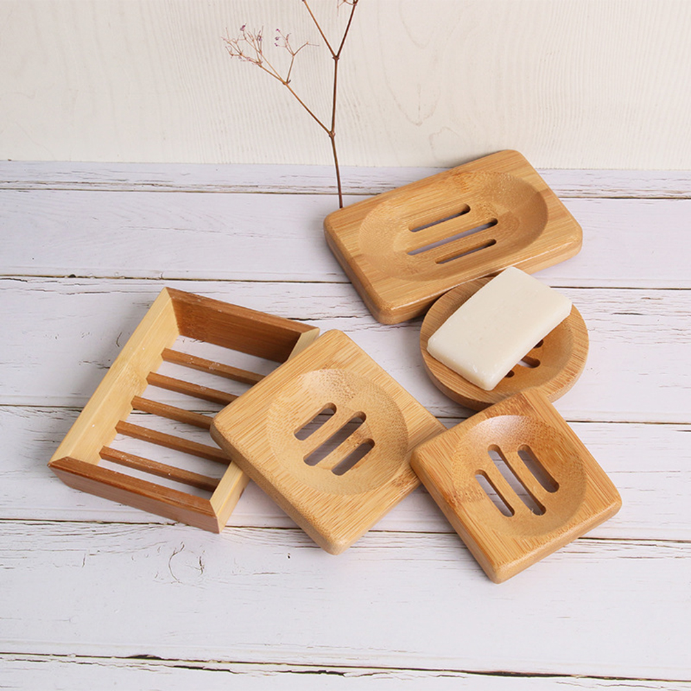 Natural Bamboo Soap Dish  Container Soap Tray Storage Rack Holder Soap Plate Box Container Stand Home Bathroom Cleaning Supplies