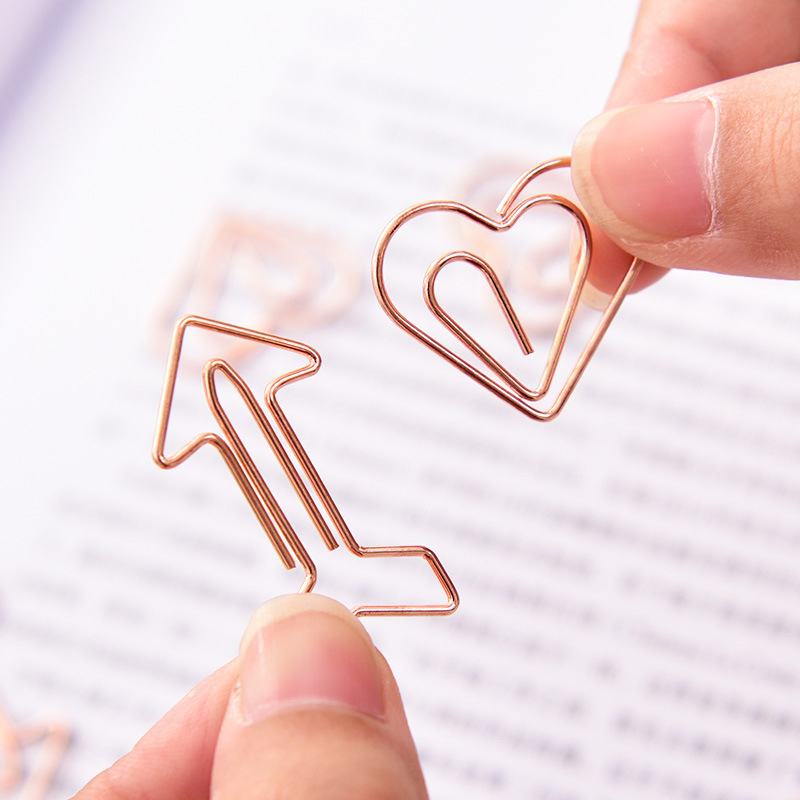12Pcs Mini Metal Clips Color Clips Ticket Holder Love Shape Clips For Kids Korean Stationery School Office Supplies