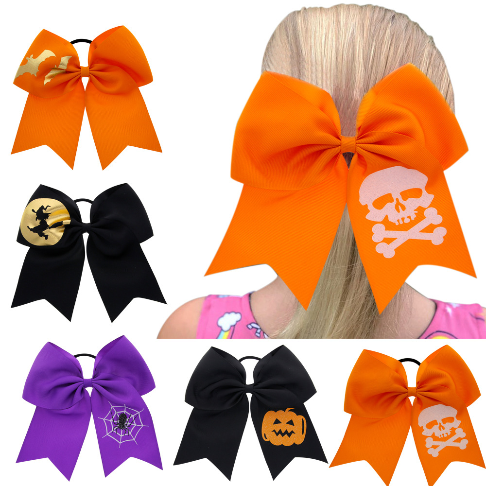 Oaoleer Hair Accessories 7 Halloween Cheer Bows for Girls Pumpkin Printed Ribbon Handmade Party