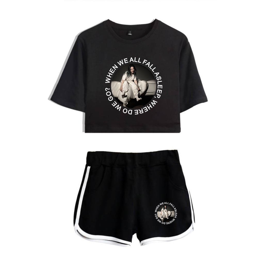 2019 Summer Outfits For Women Billie Eilish Printed Shorts T-Shirt 2 Piece Clothing Set Girls Workout Tank Top Sexy Lady Outfits