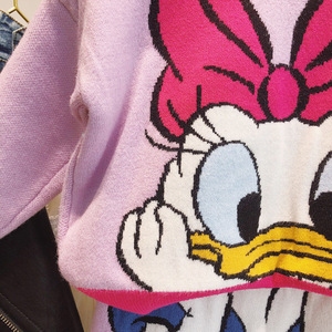 Image 4 - Winter Kids Clothes Autumn Little Girl Knit Weater Top&skirt Cute Korean Daisy Duck Embroidery Toddler Girl Clothing Set Costume