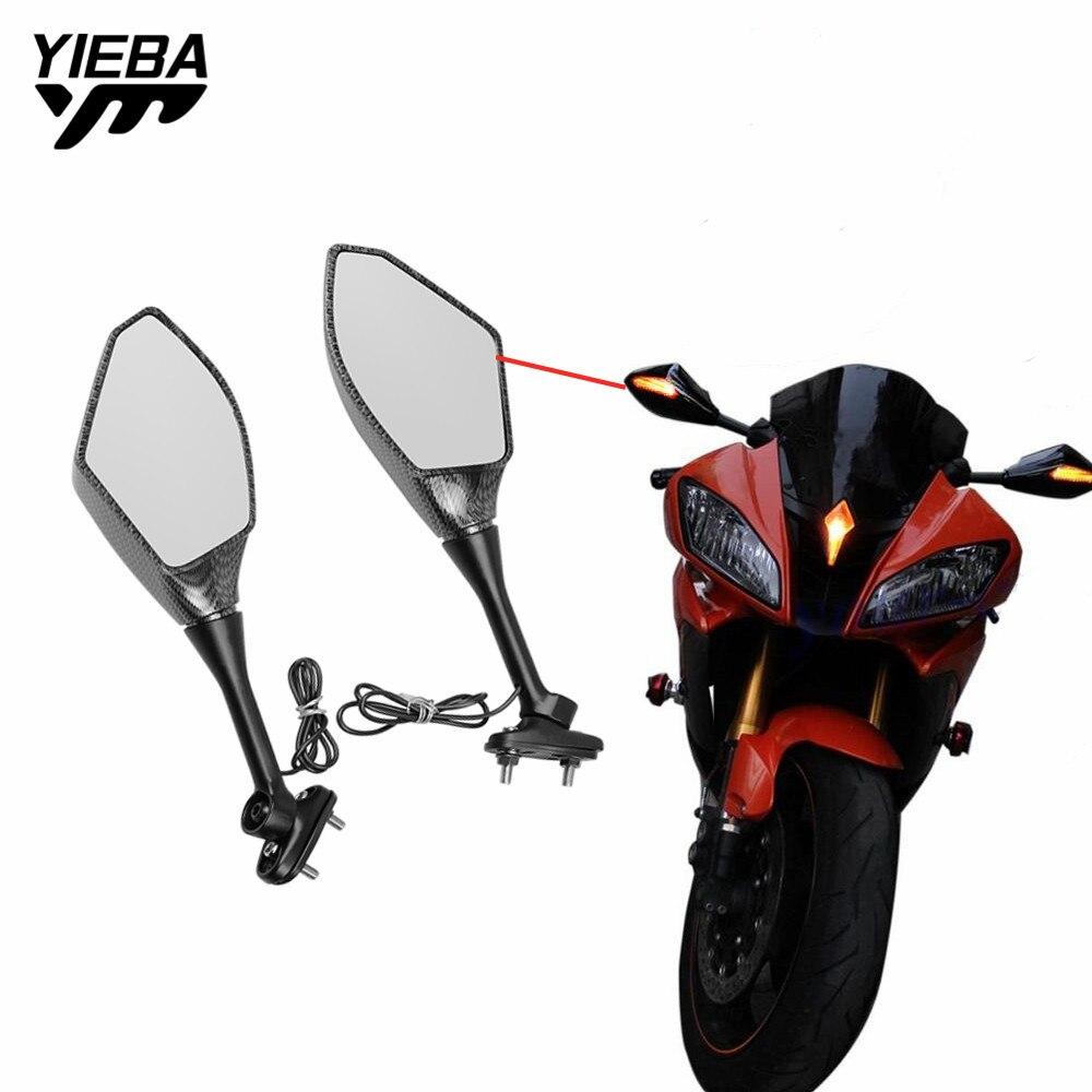 Rétroviseur de moto rétroviseur latéral avec LED clignotants indicateur lumineux pour KAWASAKI Ninja 300 400 1000 ABS HONDA VFR1200F
