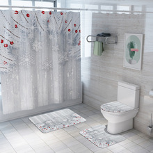 Merry Christmas  Bathroom Waterproof Shower Curtain Set  Pedestal Rug Lid Carpet Toilet Cover Bath Mat Set