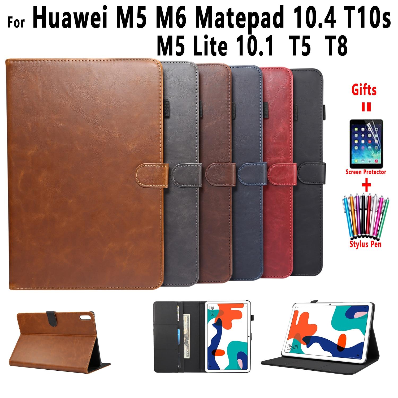 Кожаный чехол премиум-класса для Huawei Matepad T10s T10 T8 10,4 Pro 10,8 Mediapad T5 M5 Lite 10 8 M6 10,8 8,4, умный чехол для планшета