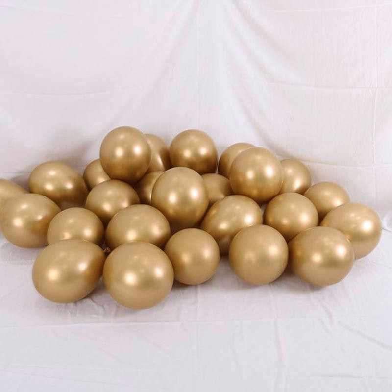 50 adet Krom Metal Altın Gümüş Gül Kırmızı Balonlar Yıldönümü doğum günü düğün parti Süslemeleri Balon Bebek Duş Malzemeleri