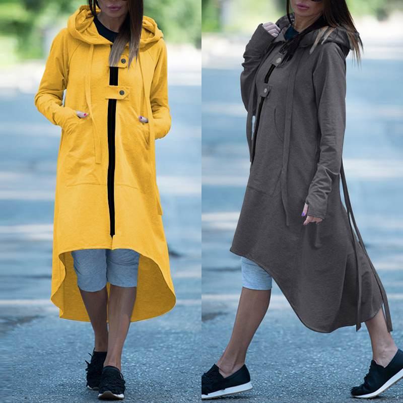 ZANZEA Women Coats Jackets Asymmetrical Long Outwear Casual Solid Long Sleeve Side Pockets Zipper Overcoats Chaqueta Casaco 7