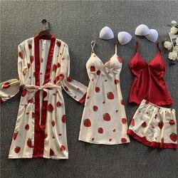 Camisón de simulación nueva de seda con tirantes, camisón de primavera y verano, pijama sexy de cuatro piezas de manga larga, dulce traje de servicio doméstico
