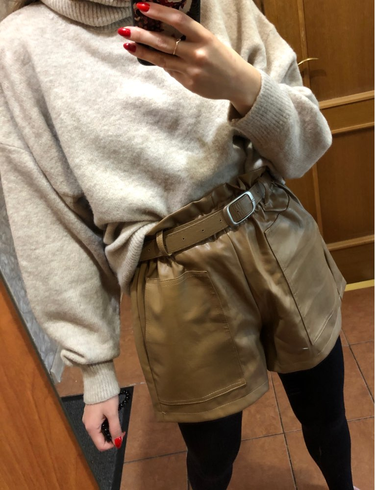 Elegant Leather Shorts Fashion High Waist Shorts Girls A-line  Bottoms Wide-legged Shorts Autumn Winter Women 6312 50 39