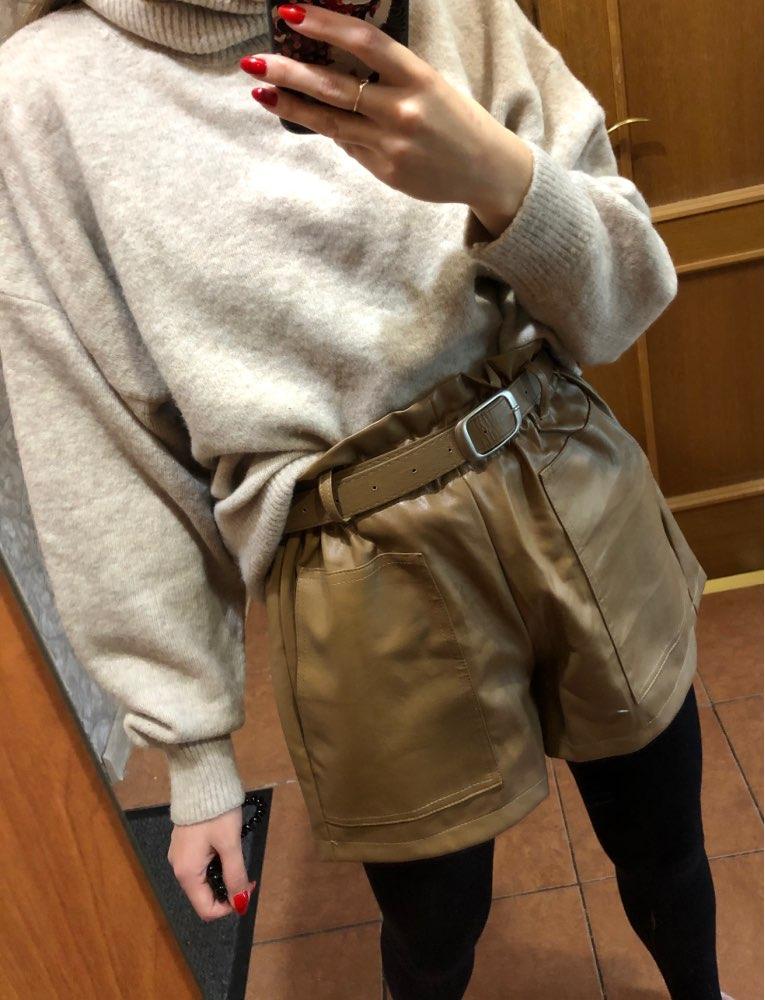Elegant Leather Shorts Fashion High Waist Shorts Girls A-line Bottoms Wide-legged Shorts Autumn Winter Women 6312 50 67