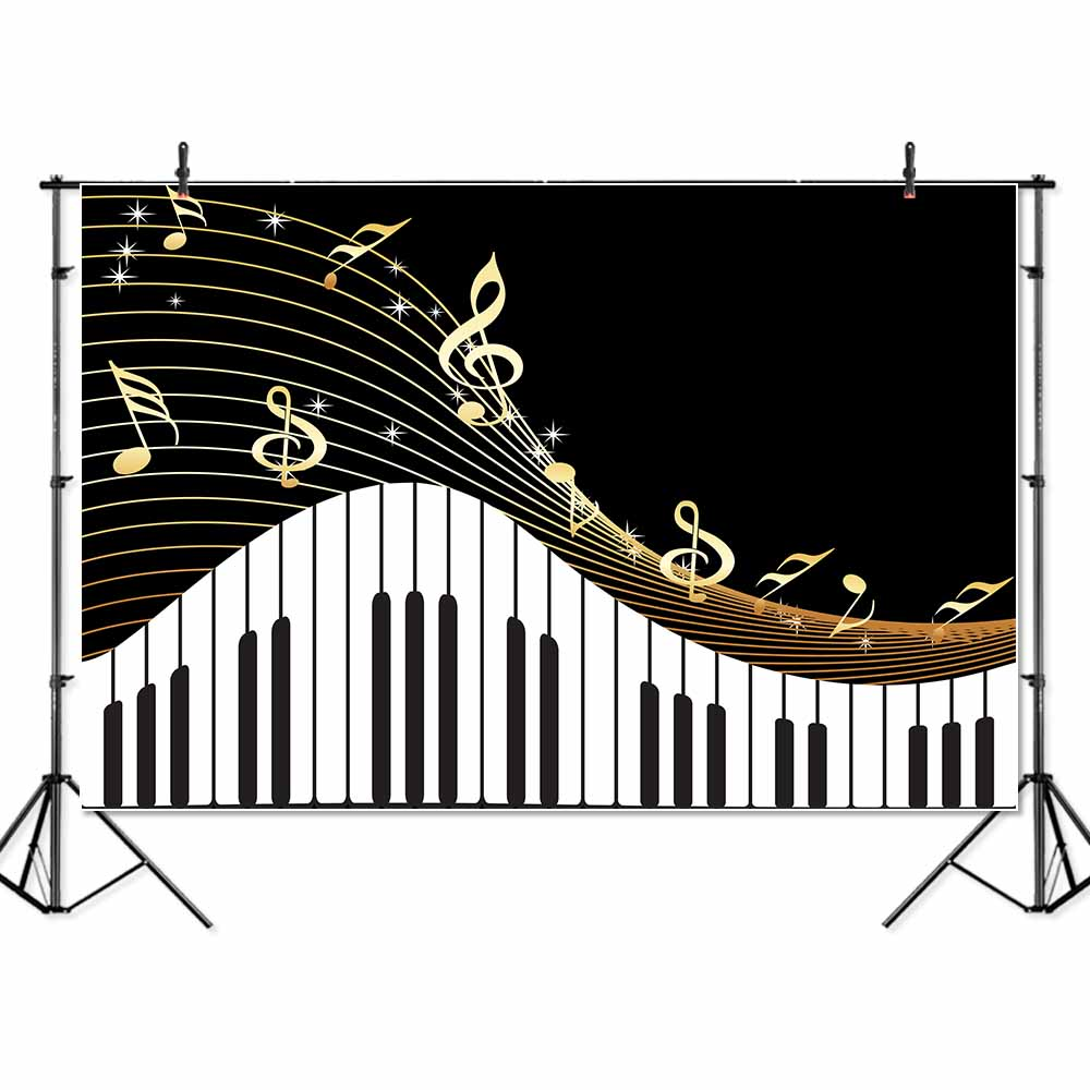 7x5ft Vinyl Piano Backdrop Black and White Piano Keys Photography Background Music Piano Themed Live Birthday Party Banners Back image