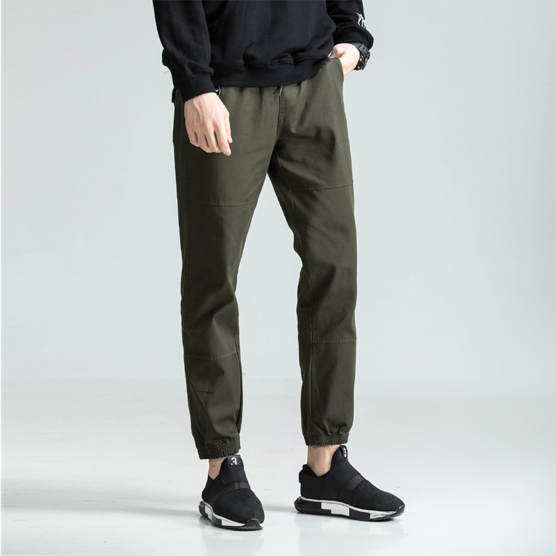 AliExpress New Style Men's Casual 9 Pants Elastic Waist Hugging Beam Leg Men Capri Casual Pants