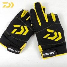 2021 daiwa Fishing gloves male spring winter waterproof windproof three fingers half fingers outdoor sports fitness warm gloves