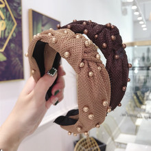 New fashion 6 colors Girls Headband Mesh Candy Pearls Hairband Handmade Women Middle Knot Turban Adult Hair Accessories