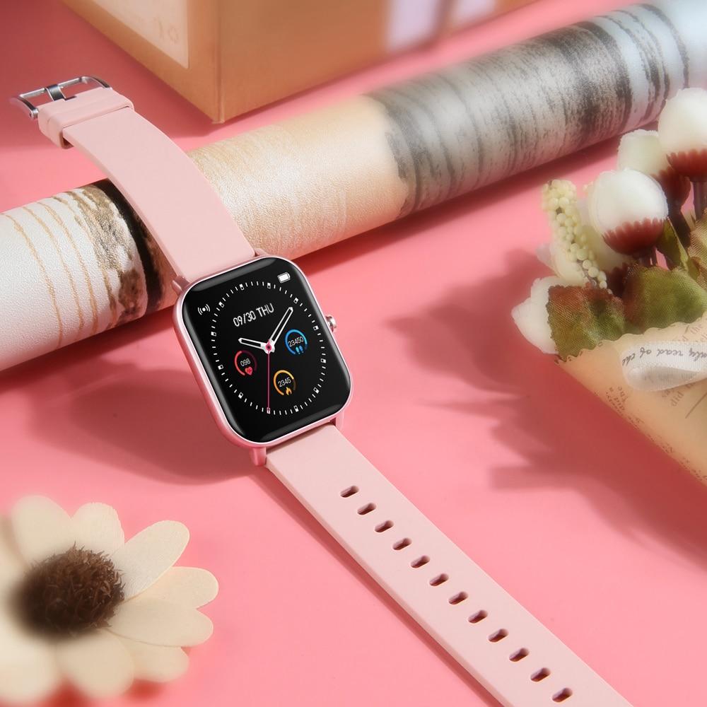 Hb675a1e37cce4cf3a6b38019e6aa53090 2021 New P8 Color Screen Smart Watch Women men Full Touch Fitness Tracker Blood Pressure Smart Clock Women Smartwatch for Xiaomi