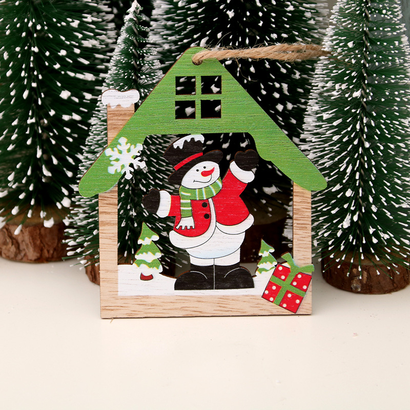 Xmas Decoration Ornament 3D 1PC New Fashion Accessories Christmas Tree Carving Home Decor Pendant Wooden Kids Gift in Pendant Drop Ornaments from Home Garden