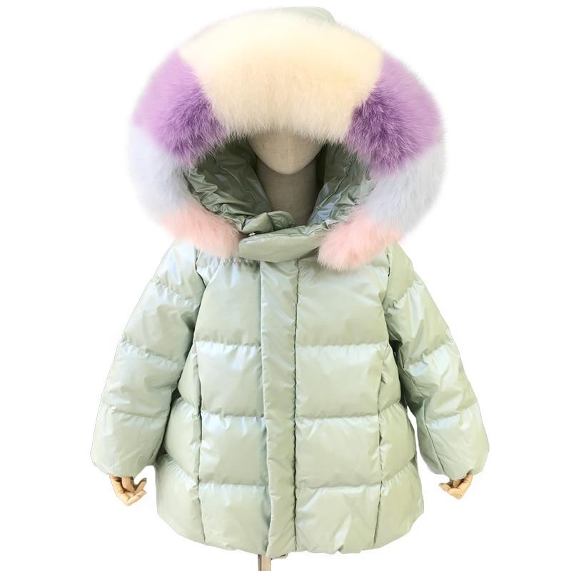 Kids Winter Down Coat Girls Cute Down Feather Winter Jacket Real Big Fur Collar Children Duck Down Jacket